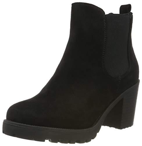 Stiefelparadies Stiefelparadies Damen Stiefeletten Chelsea Boots Wildleder-Optik Schuhe High Heel Booties Profilsohle 105430 Schwarz 36 Flandell