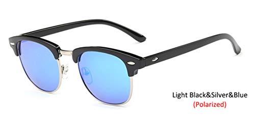 HUWAIYUNDONG Sonnenbrillen,Polarized Semi-Rimless Sunglasses Women/Men Vintage Rice Nail Classic Eyewear Design Sun Glasses Ligtblac-Blue
