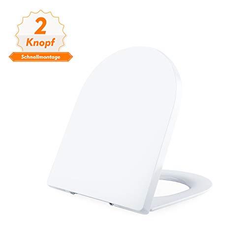 WC Sitz, DALMO TBTS01B D-Form Toilettensitz mit UF-Material, Absenkautomatik und rutschfesten Sitzpuffern, 2-Knopf-Schnellmontage-Toilettendeckel für einfache Installation und Reinigung -