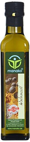 manako Walnussöl, raffiniert, 100{0956c2b9dc3a9ebec41d029e9c8c96e8eba625d22962981c9253f22a4f0ad821} rein, 250 ml Glasflasche (1 x 0,25 l)