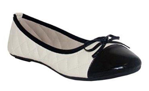 Beige, trapuntato con colore nero punta Ballerina stile pompe da Spot On, disponibile in tutte le taglie UK 3-uk 8, Beige (Beige with Black Toe), 38