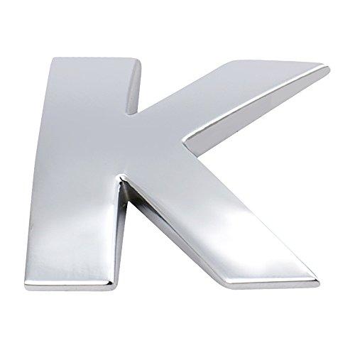 aben A-Z 3D DIY Metallic Alphabet Aufkleber Auto Emblem Brief Abzeichen, für Geburtstag Hochzeit Party Schlafzimmer Dekor (Silber 2,5x2,2x3mm, K) ()