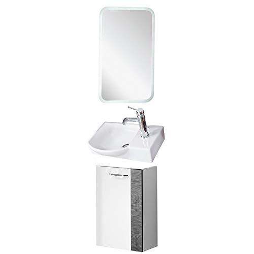 FACKELMANN Badmöbel Set Sceno Gäste WC 3-TLG. 45 cm weiß anthrazit mit Waschbecken Unterschrank & Keramikbecken & LED Spiegelelement