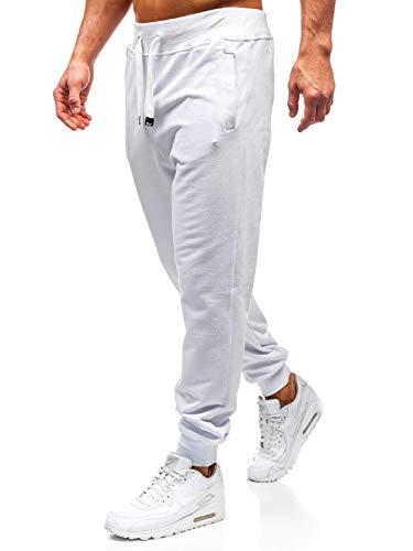 BOLF Herren Sporthose Trainingshose Jogger Basic Unifarbe 100% Baumwolle Sportlicher Stil 145364 Weiß L [6F6]