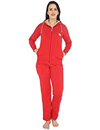 52acfc0e82 Nightwear for Women - Night Suit - Winterwear for Women - Hoodie   Pyjama  Combo Set - Fleece Warm Material - Red…