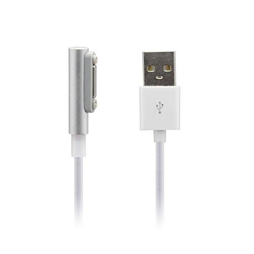 Sony Xperia LED Magnet ladekabel,EasyULT Magnet USB Ladekabel für Sony Xperia Z1/Z1 Compact/Z2/Z2 Tablet/Z3/Z3 Compact Ladekabel Anschluss Adapter Anschluss Stecker Verbindung(Weiß,1 Meter)