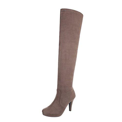 Ital-Design Overknees Damen-Schuhe Overknees Pfennig-/Stilettoabsatz High Heels Reißverschluss Stiefel Hellbraun, Gr 40, 0-103-