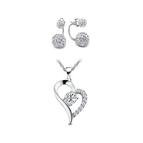 Yoome I Love You Forever Ciondolo in argento sterling a forma di cuore con collana e orecchini per donna - Bianco bianca