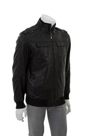 Hommes Blouson Veste en cuir - Piero / Noir