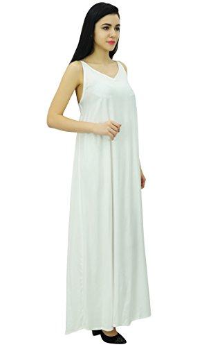 Bimba - robe longue en satin à bretelles spaghetti pour femme Blanc