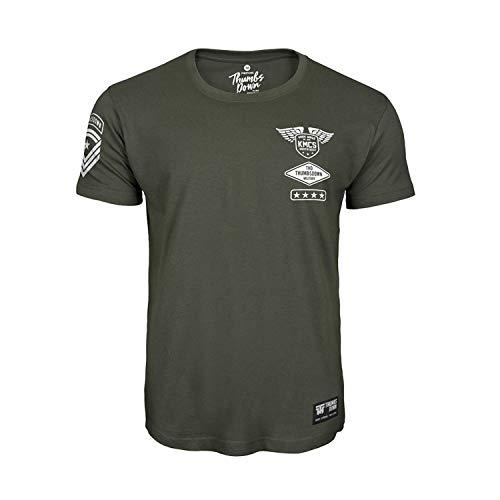 Thumbsdown thumbs piuma krav maga t-shirt. kmcs military. mma palestra. allenamento. marziale arti. casual - verde militare, large