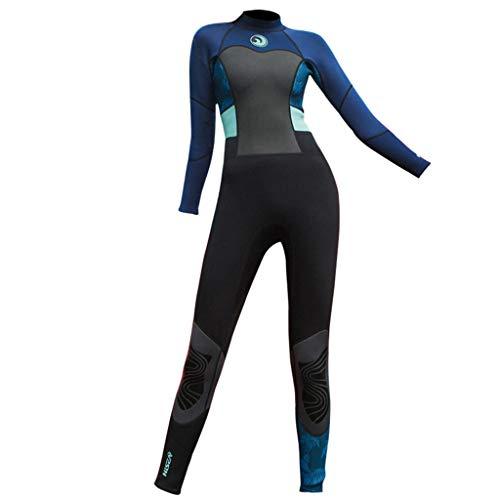 QIMANZI Swimming Wetsuit Damen 1.5mm Tauchanzug Ganzkörper Tauchanzug Surf Schwimmoverall Neoprenanzug Neu Badeanzug(Marine,XXL)