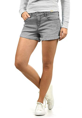BlendShe Andreja Damen Jeans Shorts Kurze Denim Hose Mit Destroyed-Optik Aus Stretch-Material Skinny Fit, Größe:L, Farbe:Grey Denim (29047)