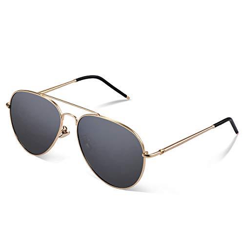 Yveser Polarisierte Sonnenbrille Pilotenbrille für Männer und Frauen Yv1816 (Schwarze...