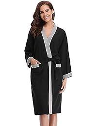 343cd1d1701669 Abollria Damen Baumwolle Bademantel Morgenmantel Frauen Hausmantel Waffel V  Kragen Sauna Frottee Leicht Mantel Kimono Klassische