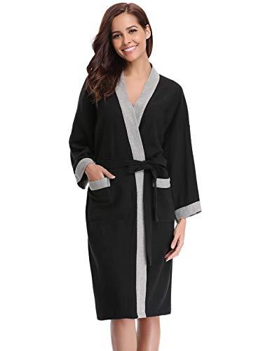 Abollria Vestaglia Lunga da Donna in Cotone al 95% Elegante Sexy Pigiama Kimono con Cintura per Casa Spa Hotel (S, B-Nero&Grigio(60% Cotone))