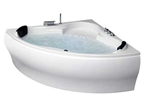 Whirlpool Badewanne Karibik Basic MADE IN GERMANY mit 13 Massage Düsen + Unterwasser Beleuchtung / Licht + Balboa + MIT Armaturen Eckwanne Jakuzzi Spa runde Eckbadewanne innen