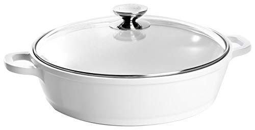 Berndes 032167 Vario Click Induction White Aluguss Schmorkasserolle Keramik mit Glasdeckel 28 cm, 3,8 l