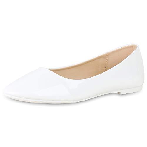 SCARPE VITA Damen Klassische Ballerinas Elegante Slip On Schuhe Lack Slipper Flache Abendschuhe Flats Glitzer 181582 Weiss Lack 38 - Ballerina Flache Slipper