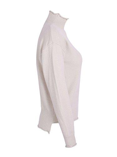 simplee women's occasionnels à tricot élastique pull col pull jumper haut de la page Beige