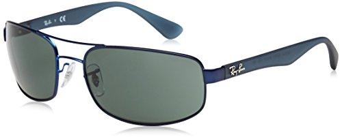 RAYBAN Herren Sonnenbrille RB3445, Blau (Matte Blue/Green), 61
