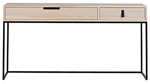 PEGANE Console 2 tiroirs en frêne brossé Sydney - Dim : H.74 x L.140 x P.40 cm
