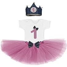 Conjunto primer cumpleaños 1 año bebes niñas rosa (corona + body/camiseta + falda