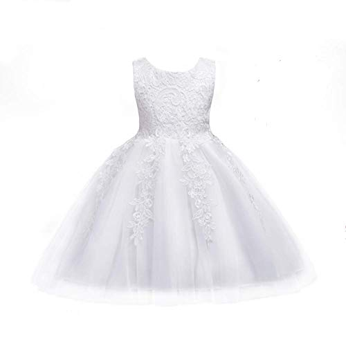 KOKOUK/Tiara Included: Girls Baby Lace Embroidery Formal Princess Wedding Christening Dress Perfect for Birthday Christmas Party/Present Gift (White) (Dress Wedding Neugeborenen-white)