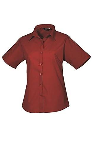 Premier Ladies Short Sleeve Poplin Blouse Burgundy 26