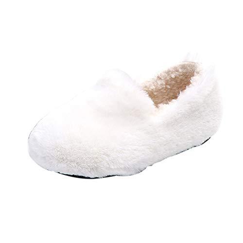 feiXIANG Kleinkind Freizeitschuhe Warme Krabbelschuhe Mädchen Junge Plüschschuhe Winter Kinderschuhe 1-6 Jahre(Weiß,24)
