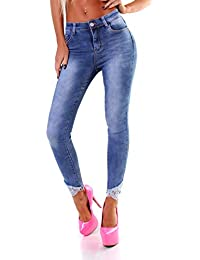 29 Damen Jeans Hose Stretch-Jeans Perlen Blüten NEU Größe 28