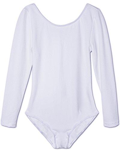 Kostüme Tanz Messungen (Tiaobug Mädchen Body Kinder Kurzarm Langarm Ballettanzug Turnanzug Trikot Gymnastikanzug (116, Weiß)