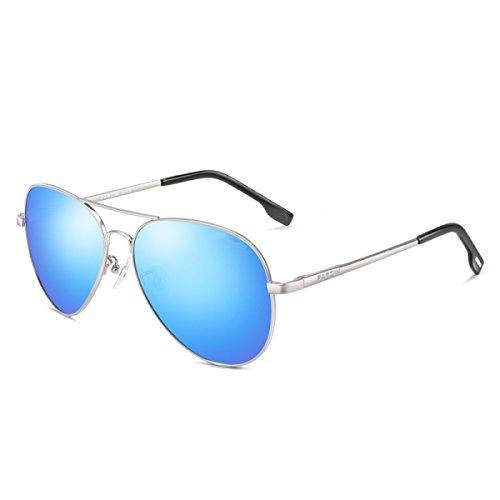 Sonnenbrille Sonnenbrille Rundes Gesicht Langes Gesicht Polarisator Spiegel Retro Harajuku Golf Reisen,SilverFrameReflectiveFilmSkyBlue-OneSize (Hanf-gebäude)