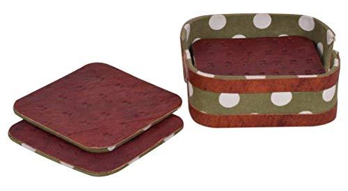 storeindya 6er-Set Untersetzer aus Holz mit Halter für Getränke saugfähig - Tee Kaffee Tasse Barware Esstisch Zubehör - Kreuz und Naught Design (Design 5) (Künstler-kaffee-tasse)