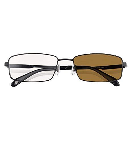Ultraleichte progressive Lesebrille, asphärische Gleitsichtglasbrille aus reinem Titan mit UV-Schutz und Multifokus-Sonnenbrille,Brown,+3