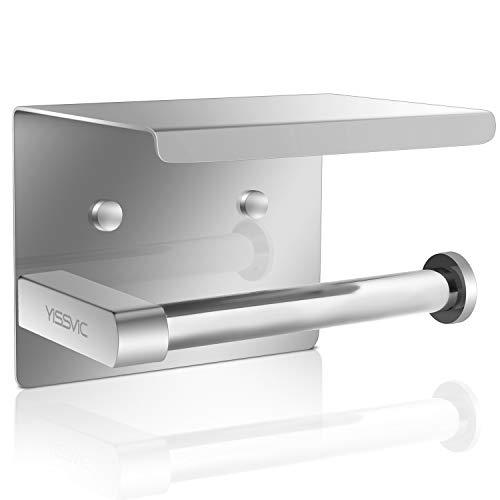 YISSVIC Porte Papier Toilette 304 Acier Inoxydable Support Papier Rouleau Installation avec Vis ou 3M Adhésif Haute Brillance
