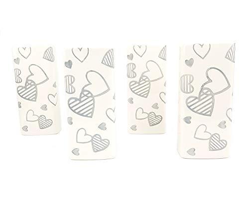 4PZ Umidificatori ambiente in ceramica per termosifoni con cuori bianchi e grigi...