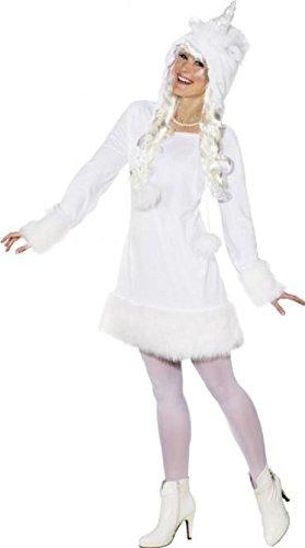 O9904-42-44 Sexy Einhorn Kleid Kostüm weiß ()