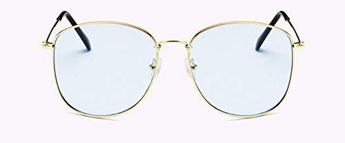 WSKPE Sonnenbrille Design Sonnenbrillen Sonnenbrille Marke Frauen Männer Metall Schwarz Rot Rosa Farbtönen Für Lady Brillen Uv400 (Gold Frame Licht Blaue Linse)