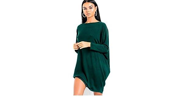593de7fb025f6 Ikrush Womens Frankie Diamante Back Long Sleeved Jumper Dress Green:  Amazon.co.uk: Clothing
