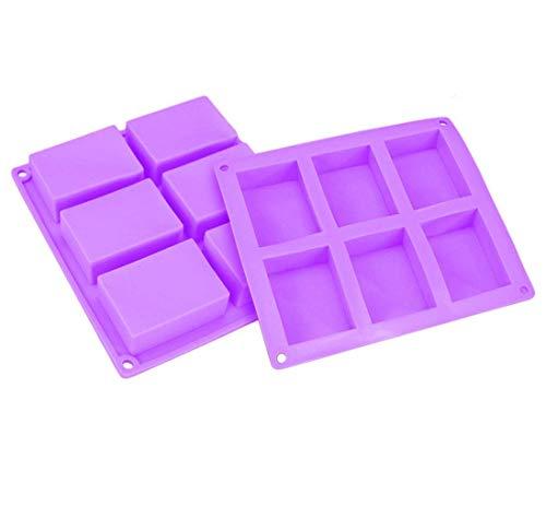 Joyoldelf Moule à Savon en Silicone Rectangulaires, Lot de 2 12 Cavité Pour Savon À La Main Gâteau Chocolat Glaçon, Violet