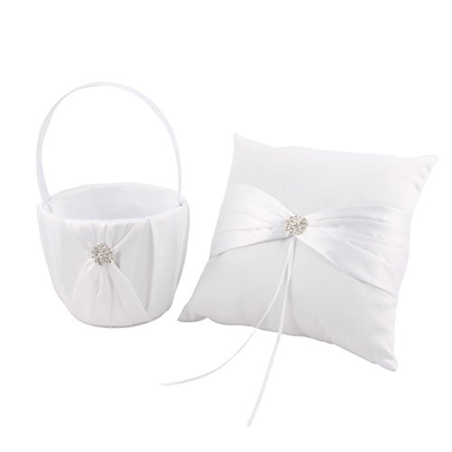 Tradico® White: Satin Wedding Party Butterfly Knot Decor Flower Basket Ring Pillow 2 in 1 White