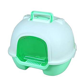 Lsrryd Coffre à litière pour Chat pour Animaux domestiques - Coffre-Fort/volet/poignée, pour Une hygiène Facile à Nettoyer pour Votre Chat de Petite/Moyenne Taille (Couleur : Green)