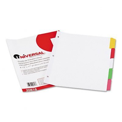 Universal : Write-On/Erasable Indexes, Five Multicolor Tabs, Letter, White, Five