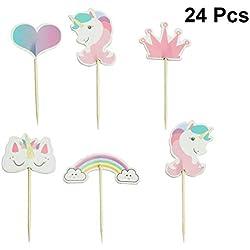 STOBOK 24 Piezas Unicornio Cupcake Selecciones Cumpleaños Rainbow Cake Topper Cóctel Decoración Palos Suministros Fiesta de cumpleaños