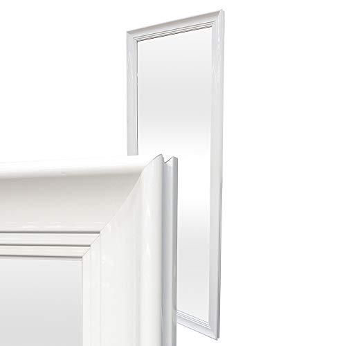 LEBENSwohnART Spiegel Lilly Weiß Hochglanz 160x60cm Wandspiegel Hängespiegel Rahmenspiegel