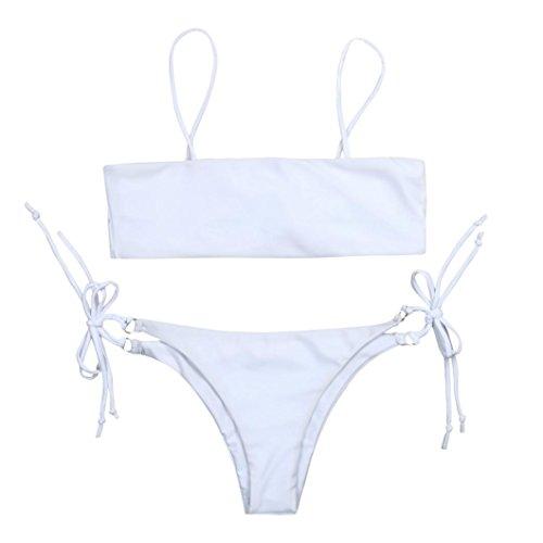 Ba Zha Hei Frauen Push Up Bikini feste Farbe Mode elegante neue Bikini Bottoms Low-Rise Harness Straps Split Badeanzug String Bikini Niedlich Badeanzug Bikini (Weiß, S) (Bottom String Bikini Dot)