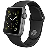 Apple 38 mm Space Grey Watch with Black Sports Band