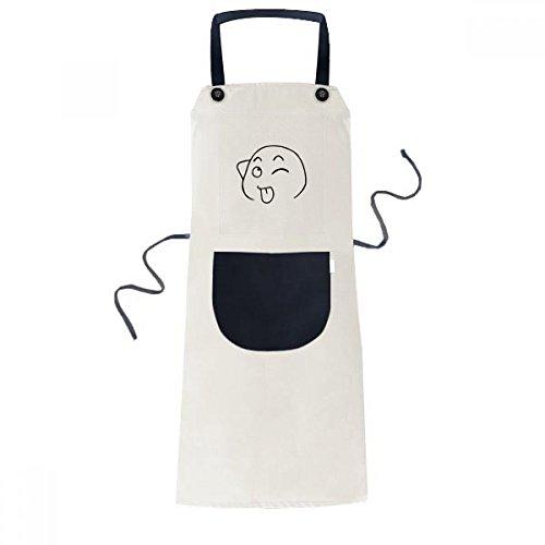 Zunge heraus Schwarz Emoji Muster Kochen Küche Beige Adjustable Latzschürze Taschen Frauen Männer Chef-Geschenk ()