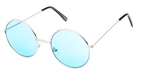 Sonnenbrille Round Glasses John-Lennon-Style 400 UV Metall getönt langer Steg (blau)